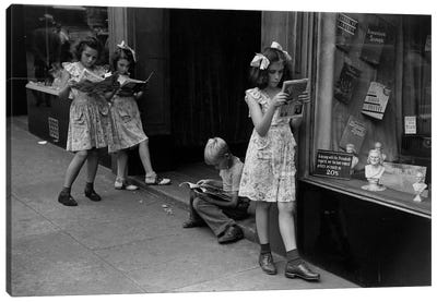 Comic Book Readers (NYC, 1947) Canvas Art Print