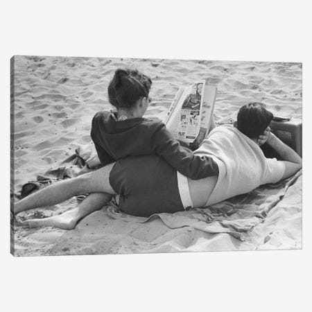 Couple On Beach (NYC, 1947) Canvas Print #ROK20} by Ruth Orkin Canvas Wall Art