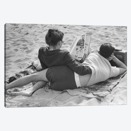 Couple On Beach (NYC, 1947) Canvas Print #ROK20} by Ruth Orkin Canvas Wall Art