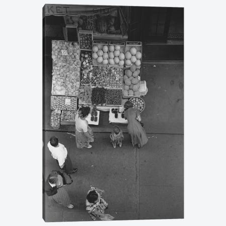 Fruit Stand Fromabove NYC 1948 Canvas Print #ROK23} by Ruth Orkin Canvas Wall Art