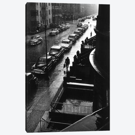 Man In Rain (NYC, 1952) Canvas Print #ROK26} by Ruth Orkin Art Print
