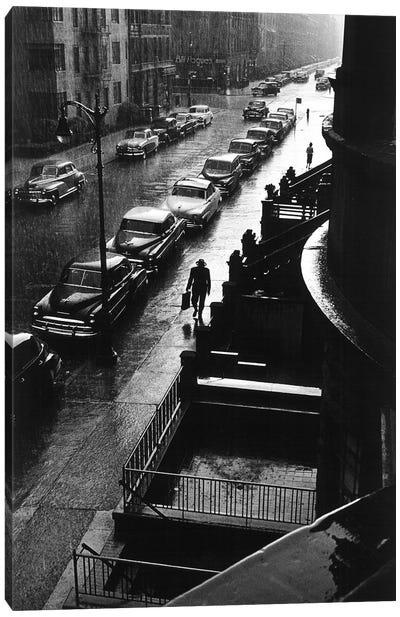 Man In Rain (NYC, 1952) Canvas Art Print