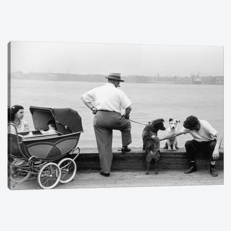 Sunday Afternoon (Gansevoort Pier NYC, 1948) Canvas Print #ROK31} by Ruth Orkin Canvas Art Print