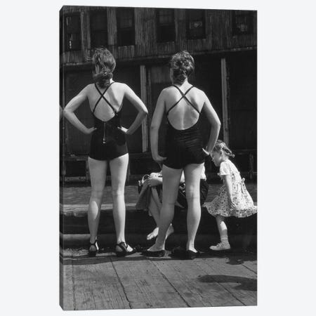 Two Women With Bathing Suits (Gansevoort Pier NYC, 1948) 3-Piece Canvas #ROK37} by Ruth Orkin Canvas Art