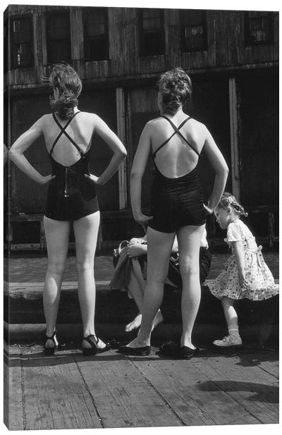 Two Women With Bathing Suits (Gansevoort Pier NYC, 1948) Canvas Art Print