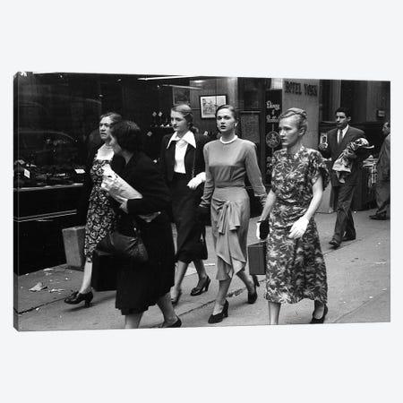 Women On Street (NYC, 1949) Canvas Print #ROK41} by Ruth Orkin Canvas Artwork