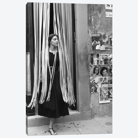 American Girl Series Jinx In Beads (Florence, Italy 1951) Canvas Print #ROK5} by Ruth Orkin Canvas Artwork