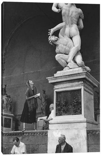 American Girl Series Staring At Statue Florence, Italy 1951 Canvas Art Print