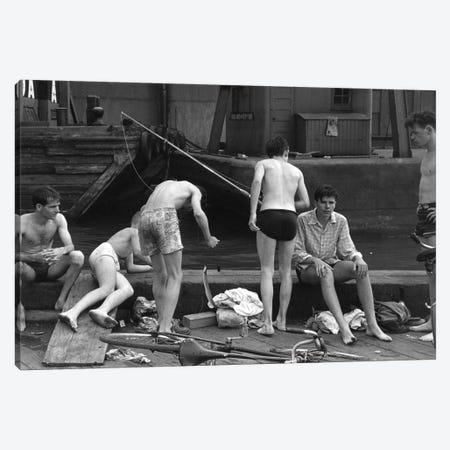 Boys Fishing At Ganservoort Pier (1948) Canvas Print #ROK8} by Ruth Orkin Canvas Art Print