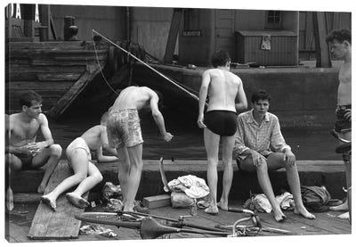 Boys Fishing At Ganservoort Pier (1948) Canvas Art Print