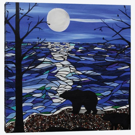Moonlit Bear Canvas Print #ROL27} by Rachel Olynuk Canvas Wall Art