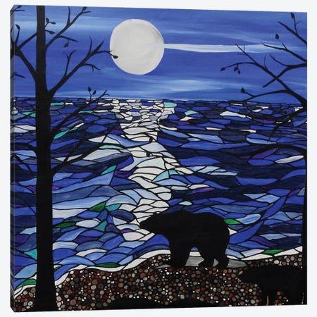 Moonlit Bear Canvas Print #ROL27} by Rachel Olynuk Canvas Wall Art