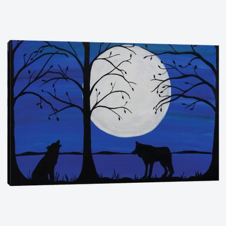 Moonlit Wolves Canvas Print #ROL28} by Rachel Olynuk Canvas Art Print