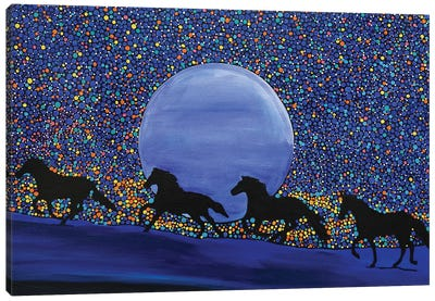Horses Chasing the Moon Canvas Art Print