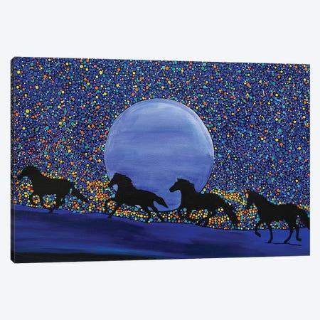 Horses Chasing the Moon Canvas Print #ROL54} by Rachel Olynuk Canvas Art Print