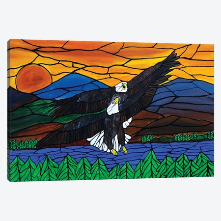 Two Eagles Canvas Print #ROL81} by Rachel Olynuk Art Print