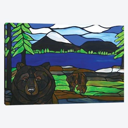 Bear Photobomb Canvas Print #ROL84} by Rachel Olynuk Canvas Artwork