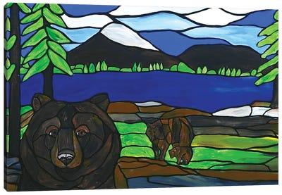 Bear Photobomb Canvas Art Print