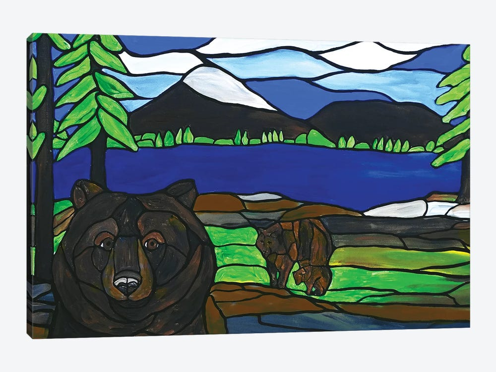Bear Photobomb by Rachel Olynuk 1-piece Canvas Art