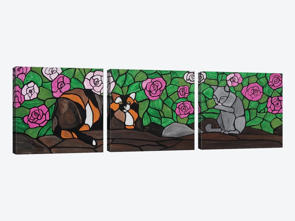 Cats In The Courtyard by Rachel Olynuk 3-piece Canvas Artwork