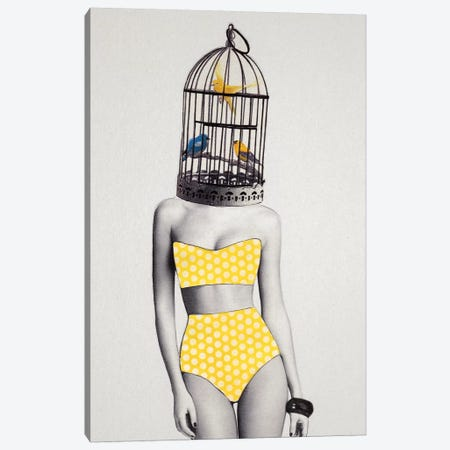 Bird Brained Babe Canvas Print #ROM16} by Jenny Rome Canvas Art