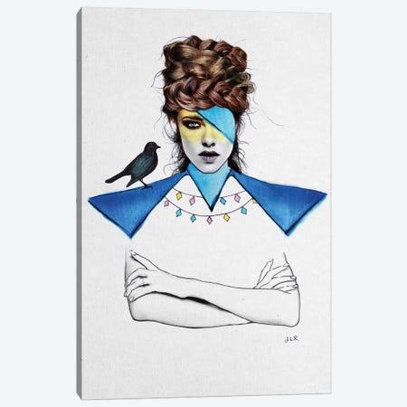 Blue Girl And Black Bird Canvas Print #ROM17} by Jenny Rome Canvas Art