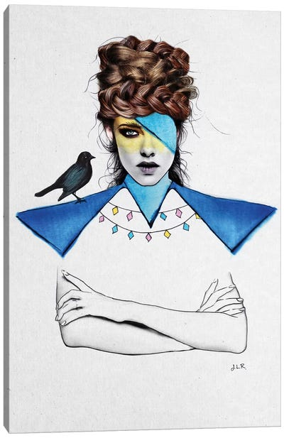 Blue Girl And Black Bird Canvas Art Print