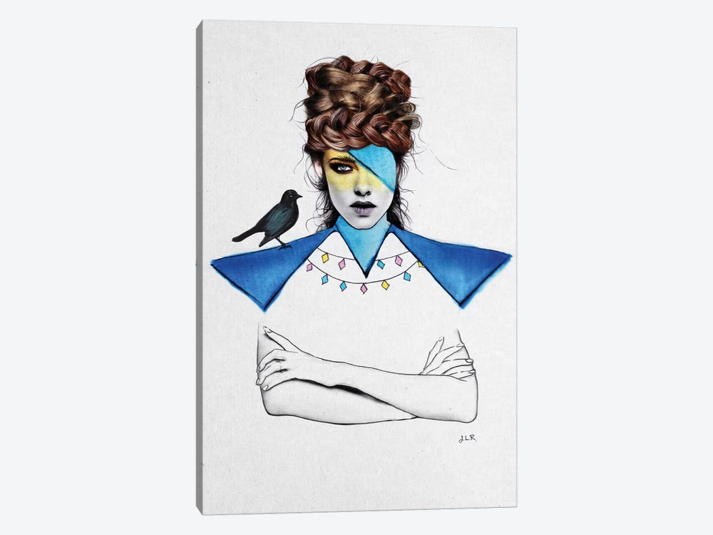 Blue Girl And Black Bird by Jenny Rome 1-piece Art Print