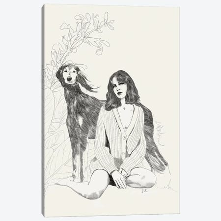 A Girl And A Dog Canvas Print #ROM1} by Jenny Rome Canvas Print
