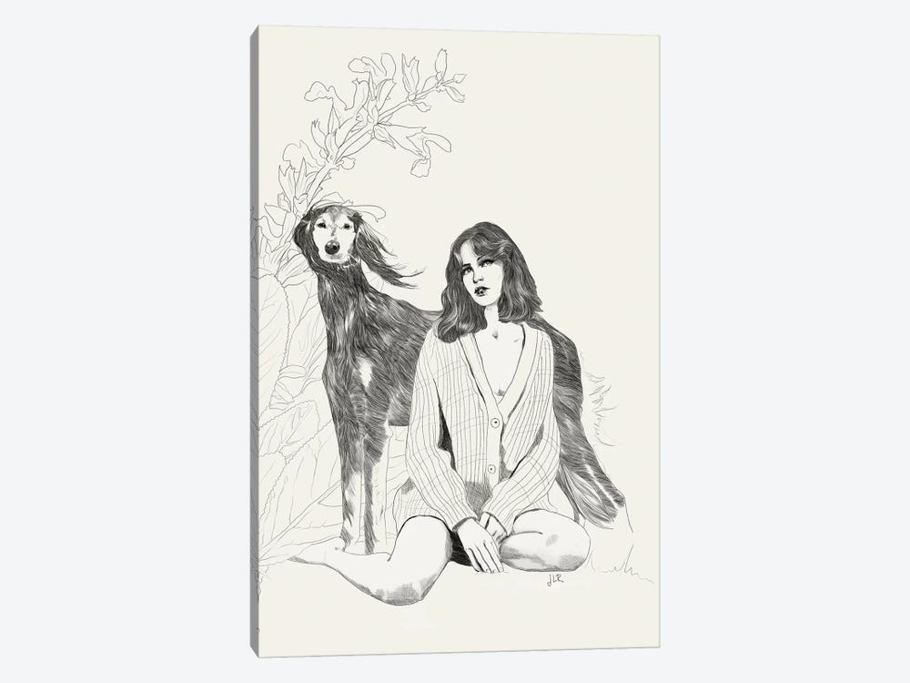 A Girl And A Dog by Jenny Rome 1-piece Canvas Print
