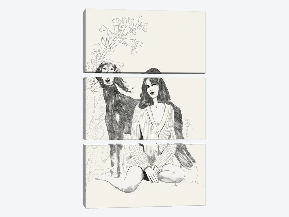 A Girl And A Dog by Jenny Rome 3-piece Canvas Print