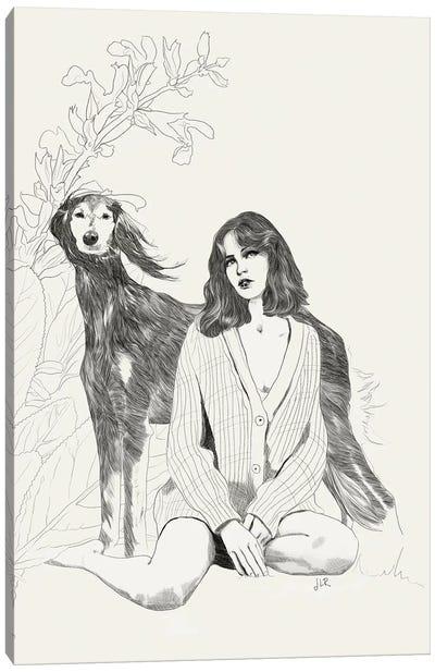 A Girl And A Dog Canvas Art Print
