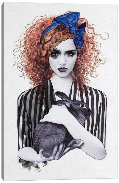 Miss Emma & Her Bunny Canvas Art Print