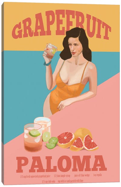 Grapefruit Paloma Canvas Art Print