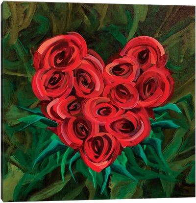 A Dozen Roses Please Heart Canvas Art Print