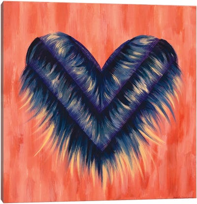 Denim Fringe Heart Canvas Art Print