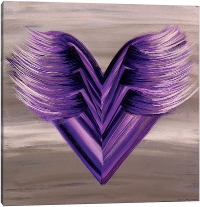 Purple Wings Heart Canvas Art Print