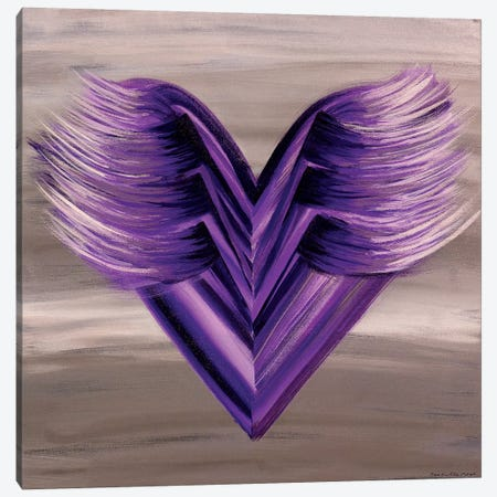 Purple Wings Heart Canvas Print #ROO65} by Rashelle Roos Art Print