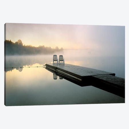 Chairs On A Dock, Algonquin Provincial Park, Ontario, Canada Canvas Print #ROT1} by Nancy Rotenberg Art Print