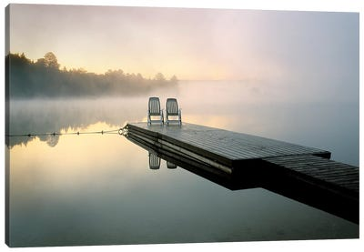 Chairs On A Dock, Algonquin Provincial Park, Ontario, Canada Canvas Art Print
