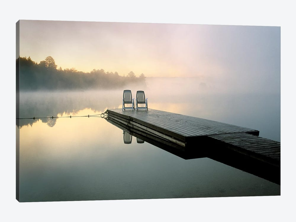 Chairs On A Dock, Algonquin Provincial Park, Ontario, Canada by Nancy Rotenberg 1-piece Canvas Wall Art