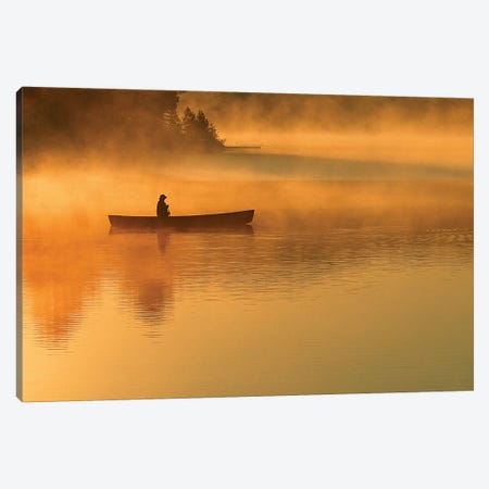 A Lone Canoeist, Algonquin Provincial Park, Ontario, Canada Canvas Print #ROT2} by Nancy Rotenberg Canvas Art Print