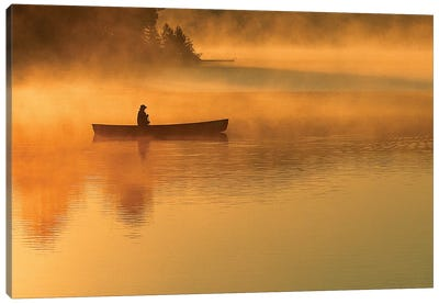 A Lone Canoeist, Algonquin Provincial Park, Ontario, Canada Canvas Art Print