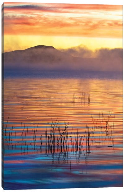 Foggy Sunrise, Racquette Lake, Town Of Long Lake, Hamilton County, New York, USA Canvas Art Print