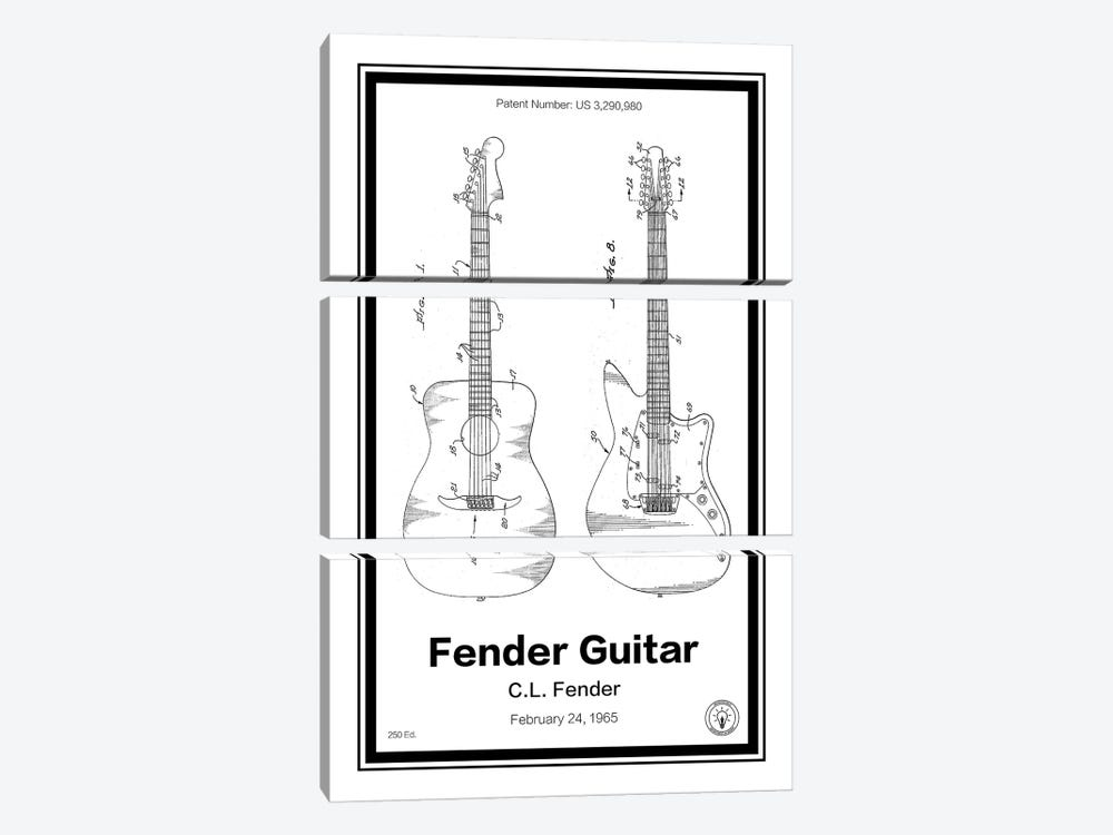 Fender Guitar by Retro Patents 3-piece Canvas Print