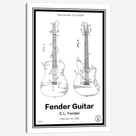 Fender Guitar Canvas Print #RPA10} by Retro Patents Canvas Wall Art