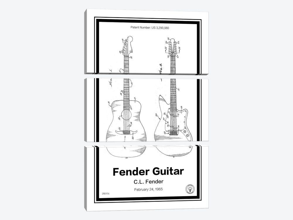 Fender Guitar by Retro Patents 3-piece Canvas Print