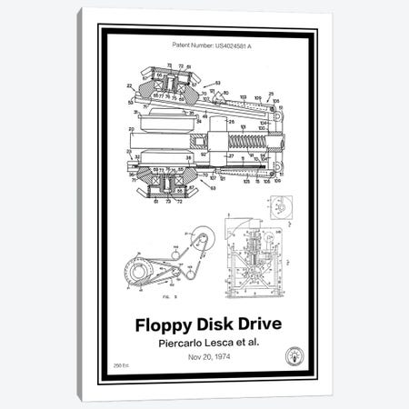 Floppy Disk Drive 3-Piece Canvas #RPA11} by Retro Patents Canvas Wall Art