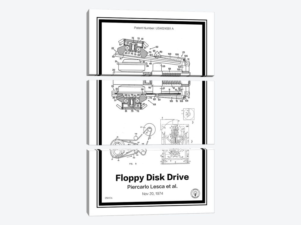 Floppy Disk Drive by Retro Patents 3-piece Canvas Art