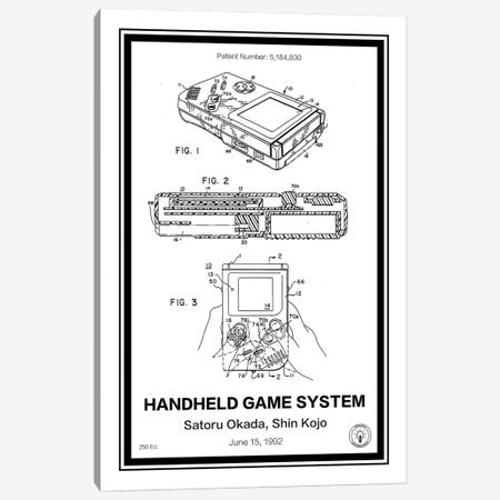 Gameboy Canvas Print #RPA12} by Retro Patents Canvas Wall Art